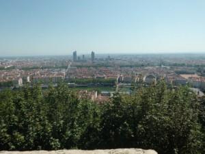 フルヴィエールの丘から、 リヨンのまちが見渡せます